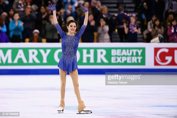 Evgenia Madvedeva of Russia celebrates after competing her routine in the Ladies Free Skate program on Day 6 of the ISU World Figure Skating...