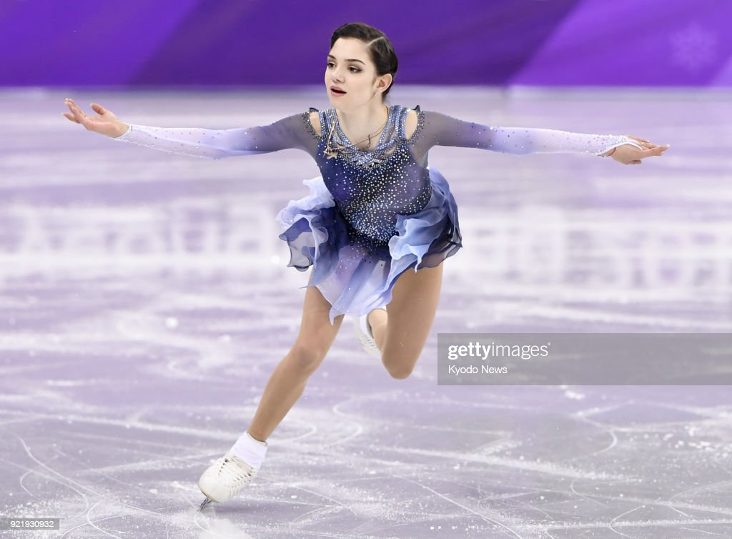 Evgenia Medvedeva, an Olympic Athlete from Russia, performs during the women's figure skating short program at the Pyeongchang Winter Olympics in Gangneung, South Korea, on Feb. 21, 2018. ==Kyodo