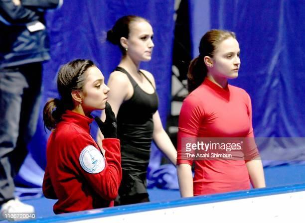 Evgenia Medvedeva and Alina Zagitova of Russia are seen during a practice session ahead of the ISU World Figure Skating Championships at Saisama...