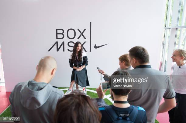 Evgenia Medvedeva attends the opening of Box MSK at Gorky Park on June 12 2018 in Moscow Russia Brazil football icon Ronaldo and Russia legend Andrey...