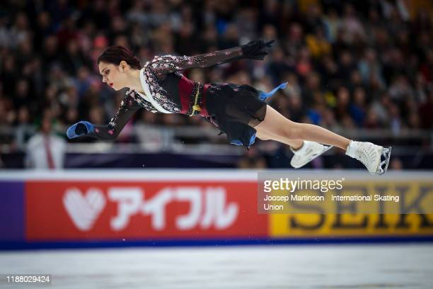 Evgenia Medvedeva competes in the Ladies Free Skating during day 2 of the ISU Grand Prix of Figure Skating Rostelecom Cup at Megasport Arena on...