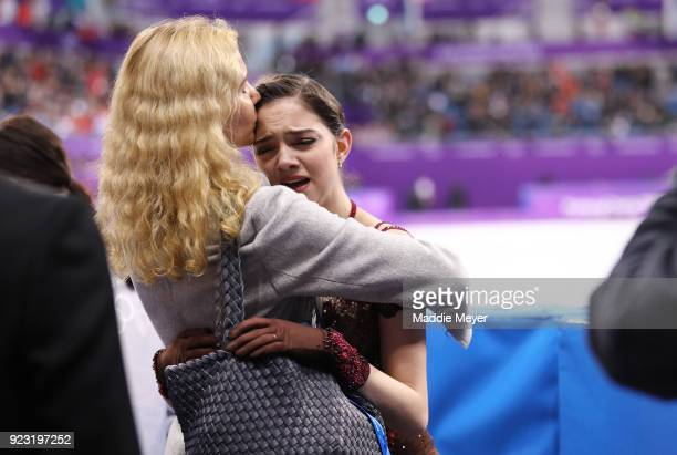 Evgenia Medvedeva of Olympic Athlete from Russia reacts with coach Eteri Tutberidze after competing during the Ladies Single Skating Free Skating on...