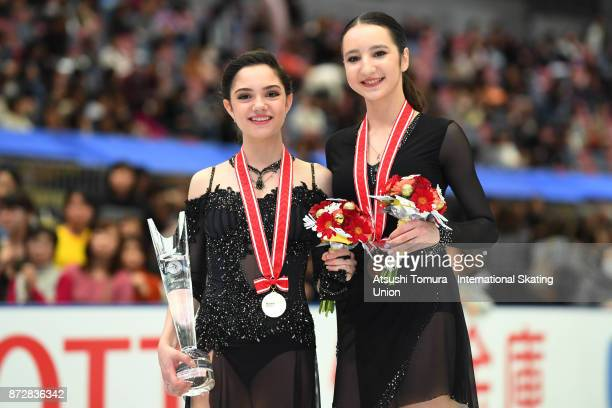 Evgenia Medvedeva of Russia and Polina Tsurskaya of Russia pose with their medals during the ISU Grand Prix of Figure Skating at on November 11 2017...