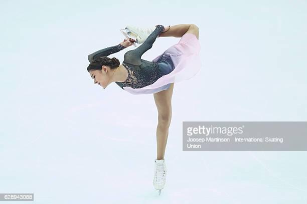 Evgenia Medvedeva of Russia competes during Senior Ladies Free Skating on day three of the ISU Junior and Senior Grand Prix of Figure Skating Final...