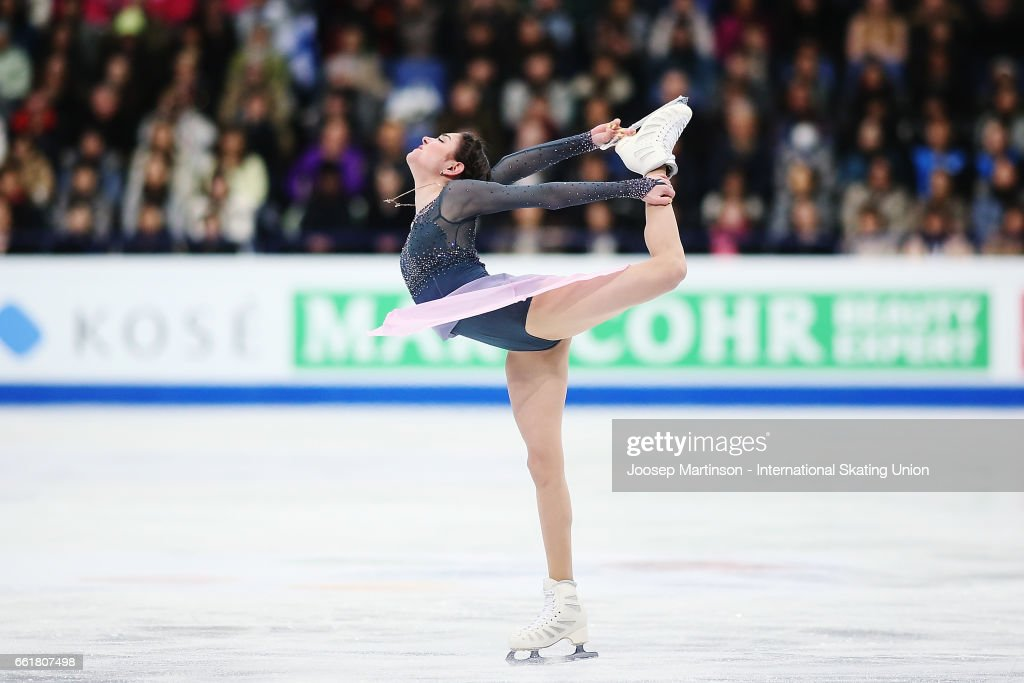 Evgenia Medvedeva of Russia competes in the Ladies Free Skating during day three of the World Figure Skating Championships at Hartwall Arena on March 31, 2017 in Helsinki, Finland.