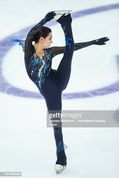 Evgenia Medvedeva of Russia competes in the Ladies Short Program during day 1 of the ISU Grand Prix of Figure Skating Rostelecom Cup at Megasport...