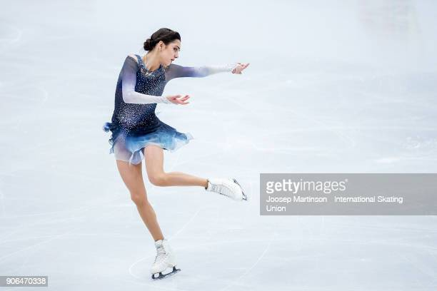 Evgenia Medvedeva of Russia competes in the Ladies Short Program during day two of the European Figure Skating Championships at Megasport Arena on...