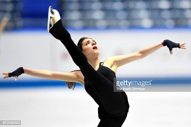 Evgenia Medvedeva of Russia in action during a practice session prior to the Ladies Singles Free Skating during day three of the ISU World Team...