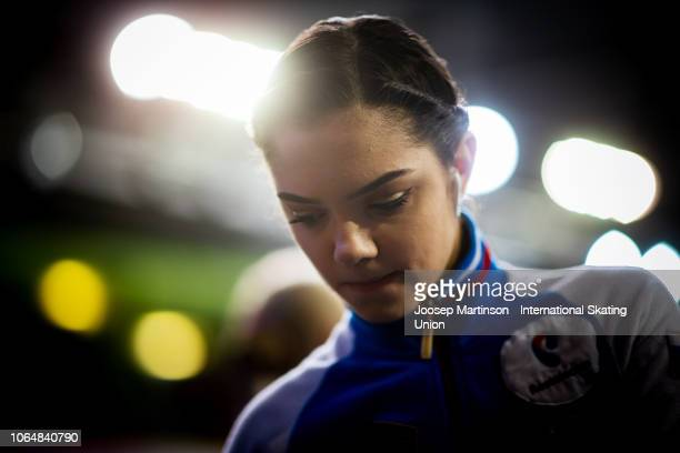 Evgenia Medvedeva of Russia looks on ahead of the Ladies Free Skating during day 2 of the ISU Grand Prix of Figure Skating Internationaux de France...