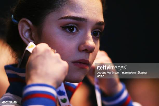 Evgenia Medvedeva of Russia looks on in the Ladies Short Program press conference during day one of the World Figure Skating Championships at...