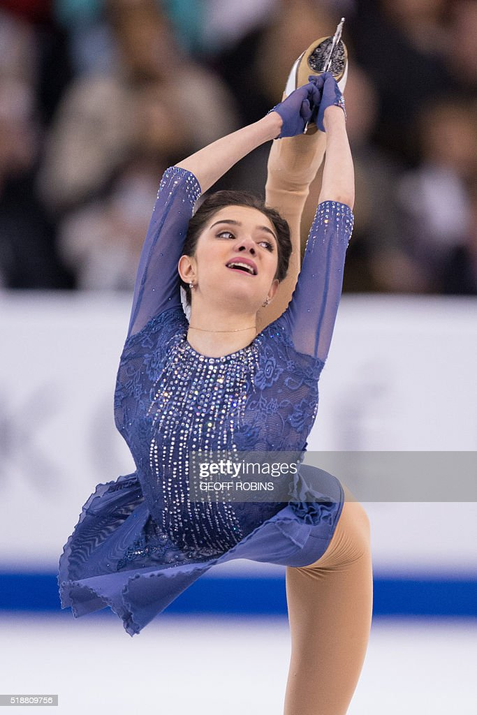 Evgenia Medvedeva of Russia performs her free skate during the Ladies competition at the ISU World Figure Skating Championships at TD Garden in Boston, Massachusetts, April 2, 2016. / AFP / Geoff Robins