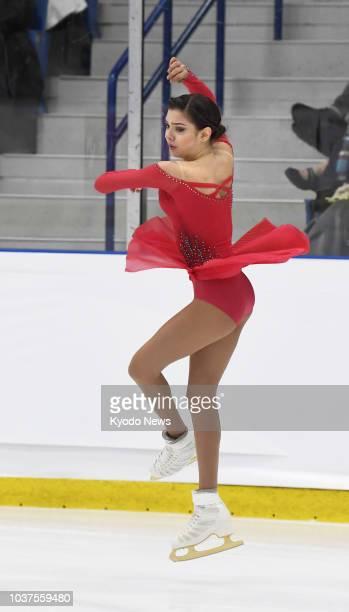 Evgenia Medvedeva of Russia performs in the women's free program at the Autumn Classic International in Oakville Canada on Sept 21 2018 Medvedeva won...