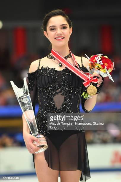 Evgenia Medvedeva of Russia poses with her gold medal during the ISU Grand Prix of Figure Skating at on November 11 2017 in Osaka Japan