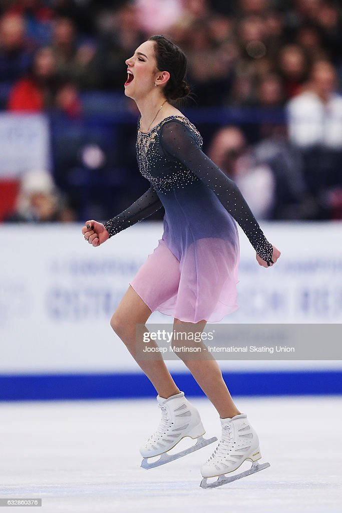 Evgenia Medvedeva of Russia reacts after competing in the Ladies Free Skating during day 3 of the European Figure Skating Championships at Ostravar Arena on January 27, 2017 in Ostrava, Czech Republic.