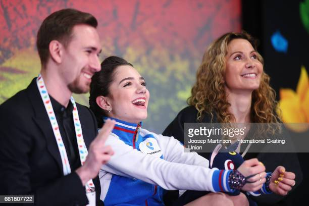 Evgenia Medvedeva of Russia reacts at kiss and cry after competing in the Ladies Free Skating during day three of the World Figure Skating...