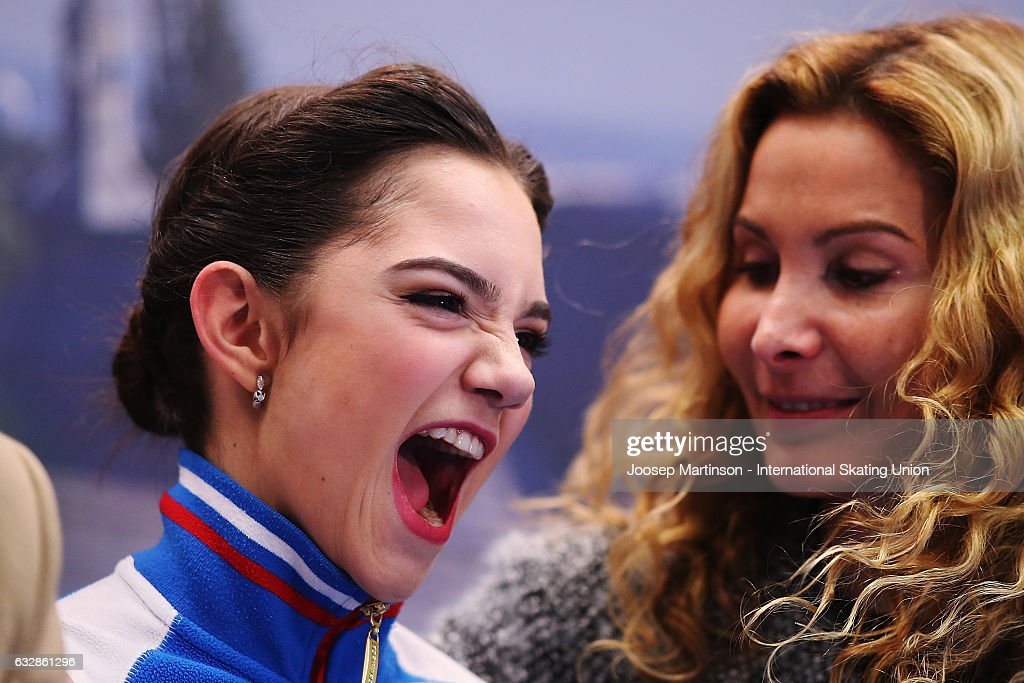 Evgenia Medvedeva of Russia reacts at the kiss and cry after competing in the Ladies Free Skating during day 3 of the European Figure Skating Championships at Ostravar Arena on January 27, 2017 in Ostrava, Czech Republic.