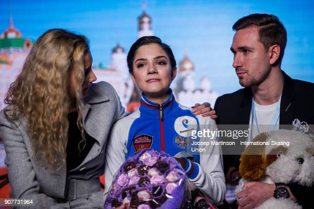 Evgenia Medvedeva of Russia reacts at the kiss and cry in the Ladies Free Skating during day four of the European Figure Skating Championships at...