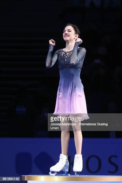 Evgenia Medvedeva of Russia reacts in the Ladies medal ceremony during day three of the World Figure Skating Championships at Hartwall Arena on March...