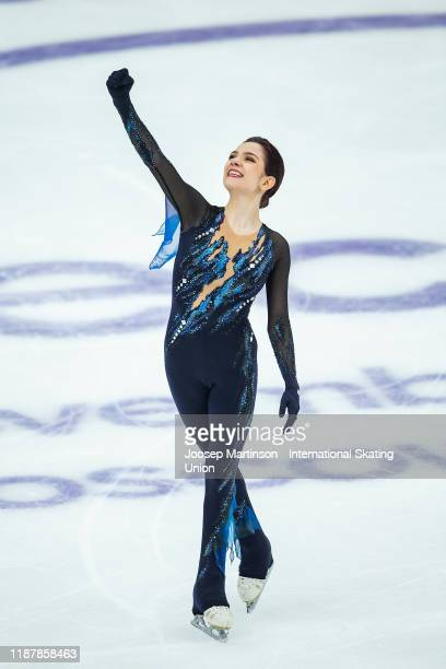 Evgenia Medvedeva of Russia reacts in the Ladies Short Program during day 1 of the ISU Grand Prix of Figure Skating Rostelecom Cup at Megasport Arena...