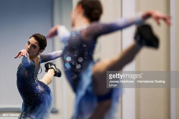 Evgenia Medvedeva of Russia warms up prior to the Ladies Short Program during day one of the ISU Grand Prix of Figure Skating Rostelecom Cup at Ice...