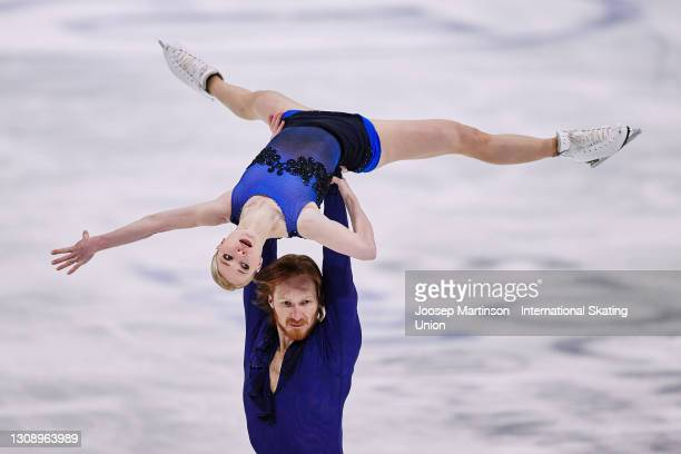 Evgenia Tarasova and Vladimir Morozov of FSR compete in the Pairs Short Program during day one of the ISU World Figure Skating Championships at...