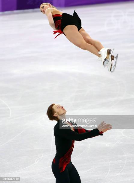 Evgenia Tarasova and Vladimir Morozov of Olympic Athlete from Russia compete in the Figure Skating Team Event Pair Skating Short Program during the...