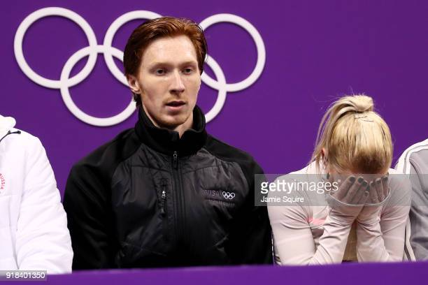 Evgenia Tarasova and Vladimir Morozov of Olympic Athlete from Russia react after competing during the Pair Skating Free Skating at Gangneung Ice...