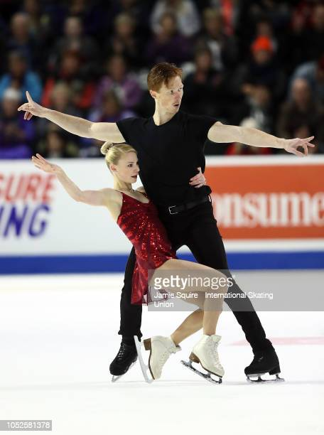 Evgenia Tarasova and Vladimir Morozov of Russia compete in the Pairs Short Program during the ISU Grand Prix of Figure Skating Skate America on...