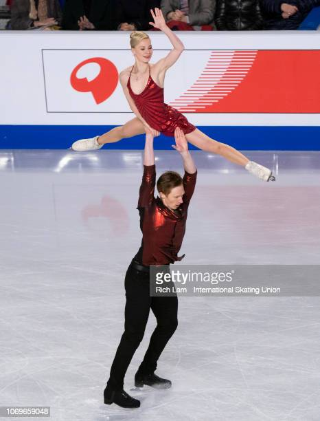 Evgenia Tarasova and Vladimir Morozov of Russia compete in the Pairs Short Program portion of the Ice Dance Competition on December 2018 at the ISU...