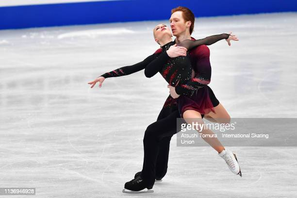 Evgenia Tarasova and Vladimir Morozov of Russia compete in the Pairs short program during day 1 of the ISU World Figure Skating Championships 2019 at...