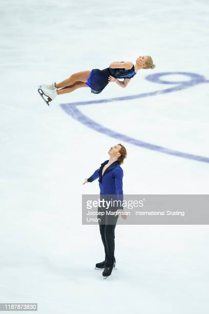 Evgenia Tarasova and Vladimir Morozov of Russia compete in the Pairs Short Program during day 1 of the ISU Grand Prix of Figure Skating Rostelecom...