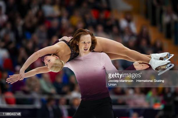 Evgenia Tarasova and Vladimir Morozov of Russia compete in the Pairs Free Skating during day 2 of the ISU Grand Prix of Figure Skating Rostelecom Cup...