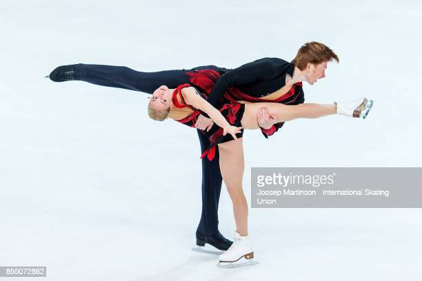 Evgenia Tarasova and Vladimir Morozov of Russia compete in the Pairs Short Program during the Nebelhorn Trophy 2017 at Eissportzentrum on September...