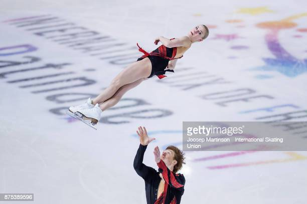 Evgenia Tarasova and Vladimir Morozov of Russia compete in the Pairs Short Program during day one of the ISU Grand Prix of Figure Skating at Polesud...