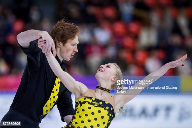 Evgenia Tarasova and Vladimir Morozov of Russia compete in the Pairs Free Skating during day two of the ISU Grand Prix of Figure Skating at Polesud...