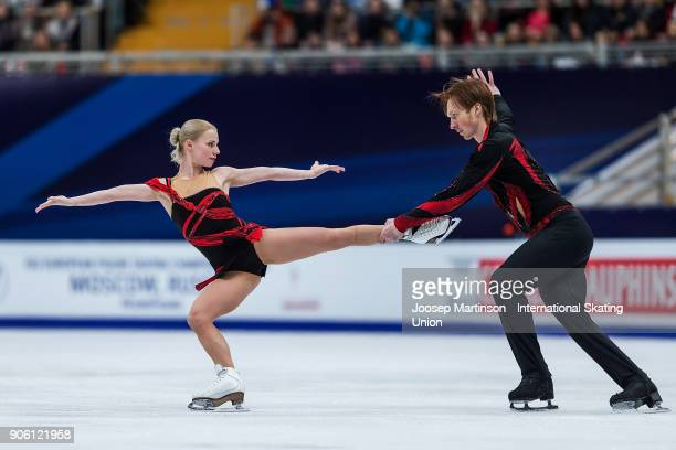 Evgenia Tarasova and Vladimir Morozov of Russia compete in the Pairs Short Program during day one of the European Figure Skating Championships at...