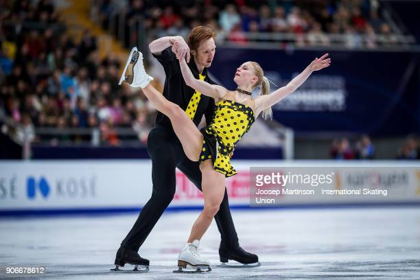 Evgenia Tarasova and Vladimir Morozov of Russia compete in the Pairs Free Skating during day two of the European Figure Skating Championships at...