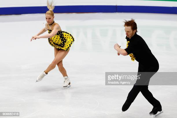 Evgenia Tarasova and Vladimir Morozov of Russia perform during pairs free skating of the ISU European Figure Skating Championships 2018 at the...