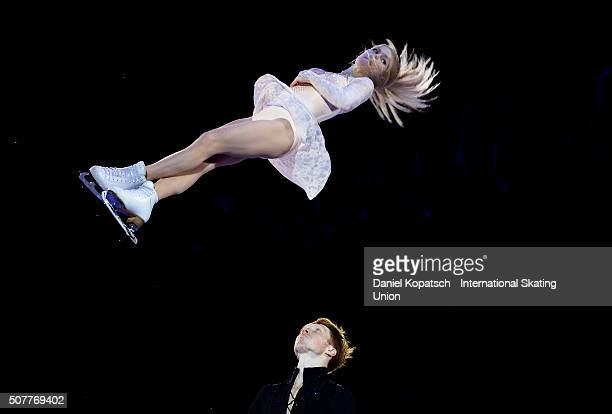 Evgenia Tarasova and Vladimir Morozov of Russia perform during the Gala Exhibition during day five of the ISU European Figure Skating Championships...