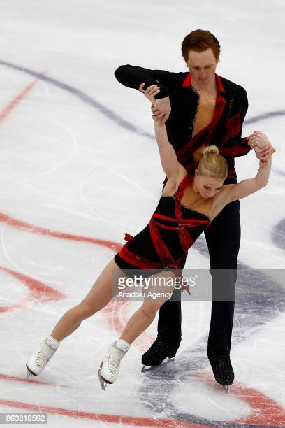 Evgenia Tarasova and Vladimir Morozov of Russia perform during the Pairs Short event on the first day of the ISU GP Rostelecom Cup 2017 at the...