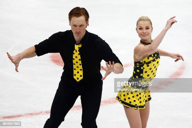 Evgenia Tarasova and Vladimir Morozov of Russia perform during the Pairs free skating event on the second day of the ISU GP Rostelecom Cup 2017 at...