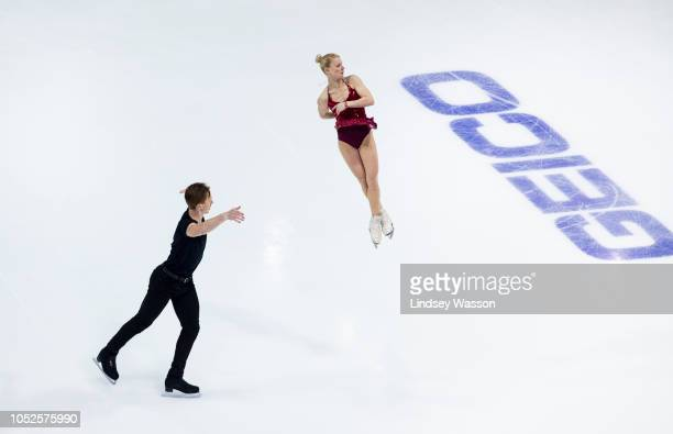 Evgenia Tarasova and Vladimir Morozov of Russia perform in the Pairs Short Program during the ISU Grand Prix of Figure Skating Skate America at Angel...