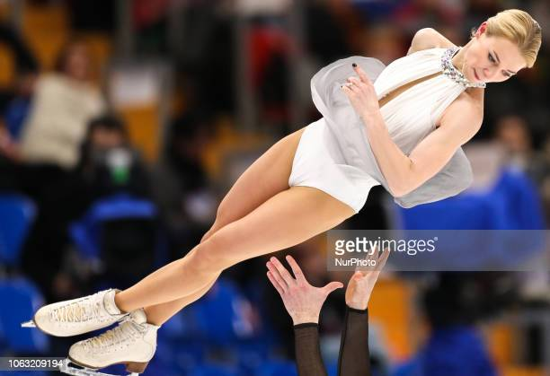 Evgenia Tarasova and Vladimir Morozov of Russia perform in the pairs free skating program during the ISU Grand Prix of Figure Skating Rostelecom Cup...