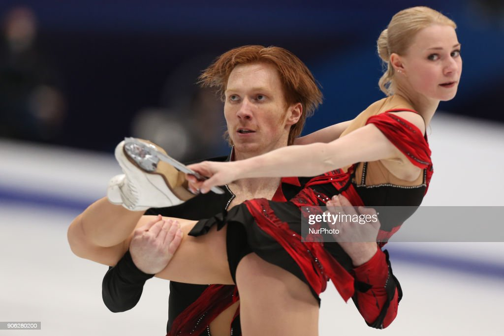 Evgenia Tarasova and Vladimir Morozov of Russia perform their short program in the pair competition at the 2018 ISU European Figure Skating Championships, at Megasport Arena in Moscow.