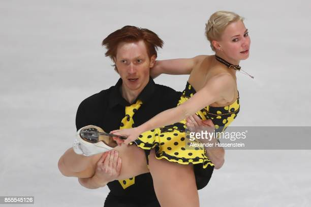 Evgenia Tarasova and Vladimir Morozov of Russia performs at the Pairs free skating during the 49 Nebelhorn Trophy 2017 at Eishalle Oberstdorf on...