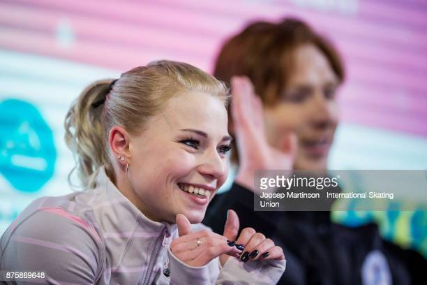 Evgenia Tarasova and Vladimir Morozov of Russia react at the kiss and cry in the Pairs Free Skating during day two of the ISU Grand Prix of Figure...