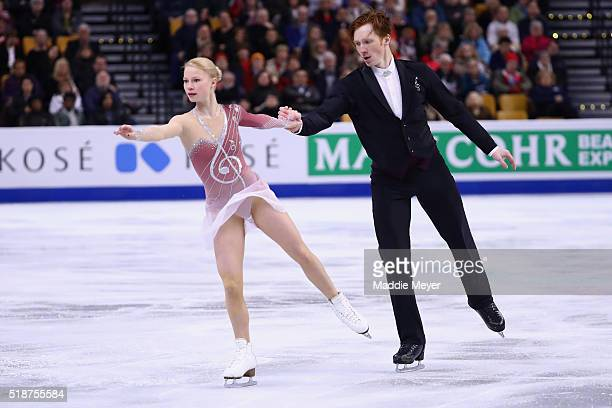 Evgenia Tarasova and Vladimir Morozov of Russia skate in the Pairs Free Skate on Day 6 of the ISU World Figure Skating Championships 2016 at TD...