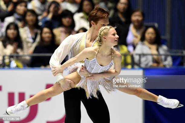 Evgenia Tarasova and Vladmir Morozov of Russia compete in the Pairs short program during day two of the ISU World Team Trophy at Yoyogi National...