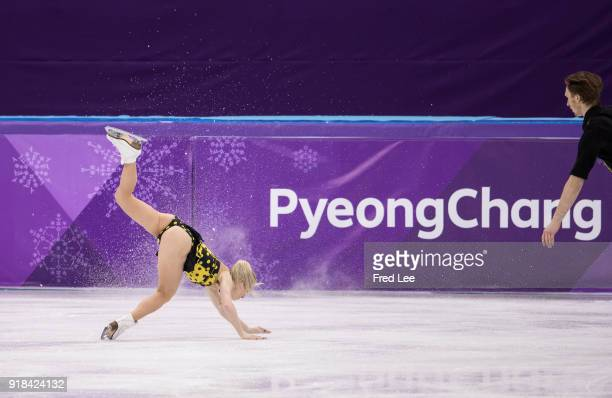 Evgenia Tarasova falls while competing with Vladimir Morozov of Olympic Athlete from Russia during the Pair Skating Free Skating at Gangneung Ice...