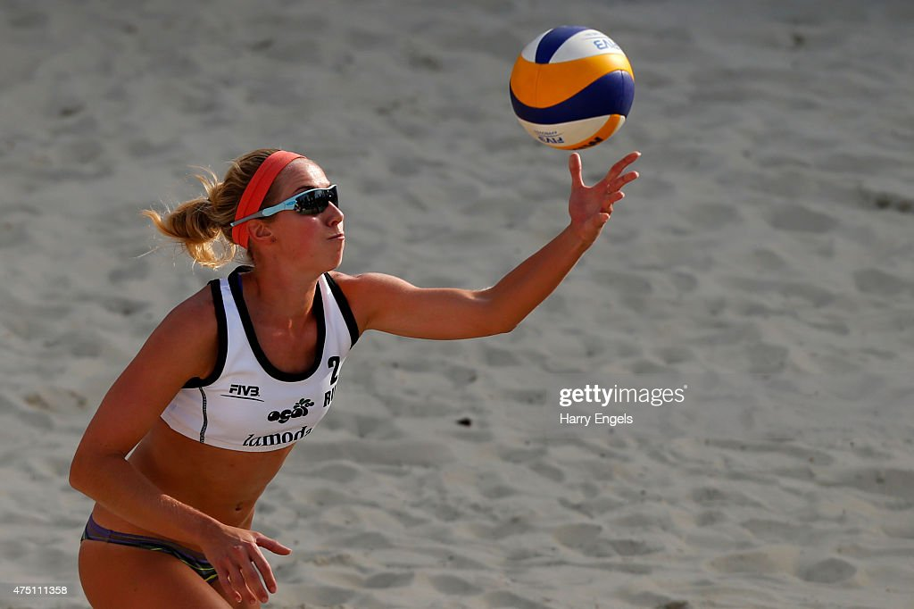 Evgenia Ukolova of Russia throws the ball up to serve during Day 2 of the FIVB Moscow Grand Slam on May 27, 2015 in Moscow, Russia.